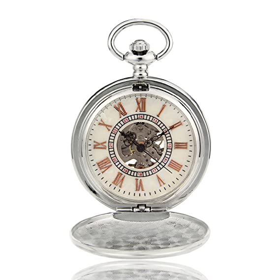 Luxury Mens Watch Fashion Steampunk Skeleton Mechanical Hand Wind Pocket Watch W/Chain Xmas Gift