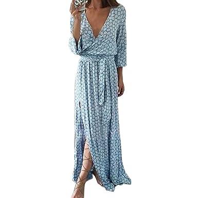 premium selection d1eb8 52b6e SHOBDW Frauen Langarm V-Ausschnitt gedruckt Langes Maxi Kleid mit Gürtel