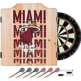 Trademark Gameroom NBA7010-MH3 NBA Dart Cabinet Set with Darts & Board - City - Miami Heat