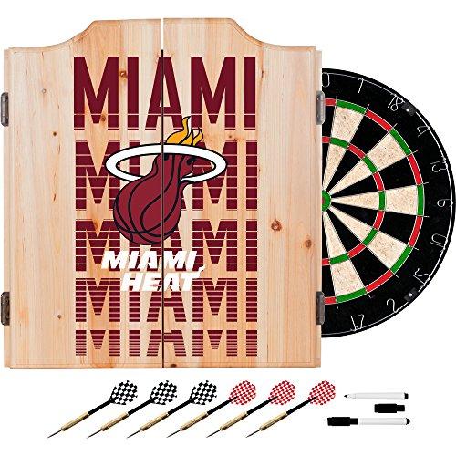 Trademark Gameroom NBA7010-MH3 NBA Dart Cabinet Set with Darts & Board - City - Miami Heat by Trademark Global