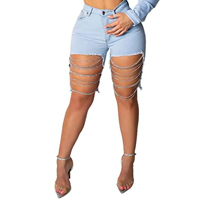 Alunzoem Womens Distressed Shorts, Chain Ripped Hole Stretch Skinny Short Jeans at Amazon Women's Clothing store