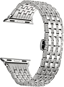 Kartice Compatible with Apple Watch Band Series 6 40mm 42mm And Apple Watch SE Bands Crystal Rhinestone Bracelet Band for iWatch Apple Watch Series 5 4 3 2 1 (T-Silver) 42mm