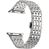 Kartice for Apple Watch Series 3 Band, 38mm Alloy Crystal Rhinestone Diamond Watch Band Luxury Stainless Steel Bracelet Strap for all apple watch series 3/series 2/series 1--38mm Silver
