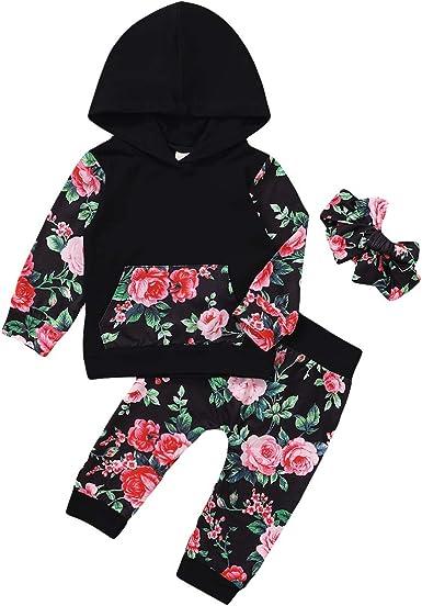 3 Piezas Bebé Niña Niño Floral con Capucha Camisa Pantalones Diadema Conjuntos para Bebé: Amazon.es: Ropa y accesorios