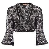 JS Fashion Vintage Dress Elegant Cropped Lace Shrug Cardigan for Wedding (XXL, Black 593-1)