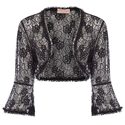 JS Fashion Vintage Dress Casual Lace Crochet Bolero Cover-up for Dress (XL, Black 593-1) by JS Fashion Vintage Dress