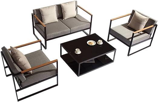 Salón de jardín de aluminio – 4 plazas, 1 sofá 2 personas y 2 sillones de jardín de aluminio Desing: Amazon.es: Jardín