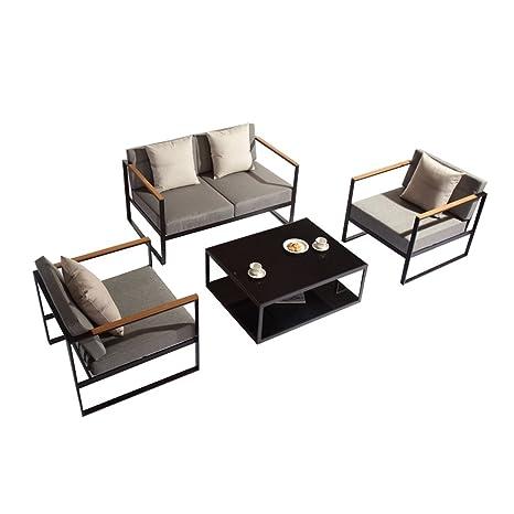 Salón de jardín de aluminio - 4 plazas, 1 sofá 2 personas y ...