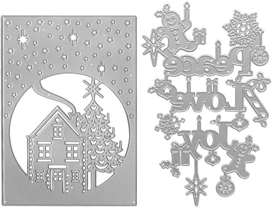 PEACE /& JOY Metal Cutting Dies and stamps DIY Scrapbooking Card
