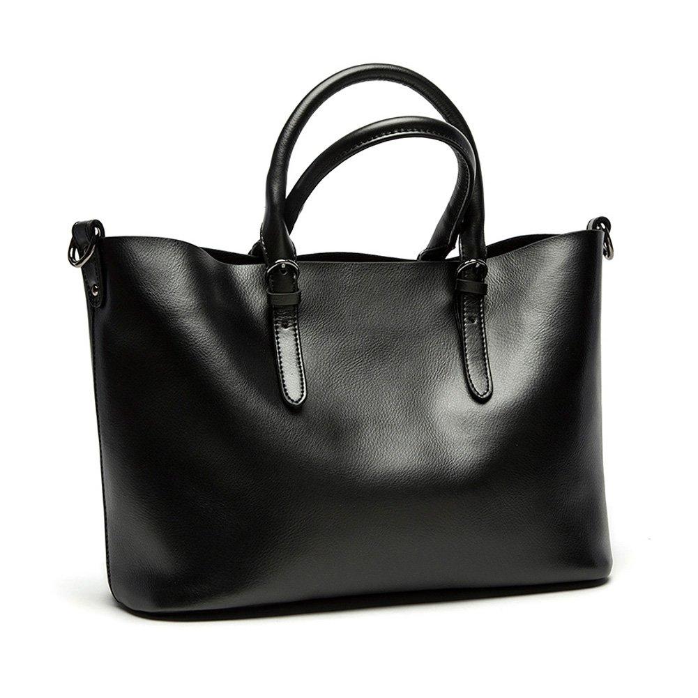 52ab9e3c4db Amazon.com  Kattee Women s Pure Color Leather Hobo Tote Shoulder Bag  (Black, Large)  Shoes