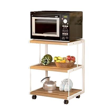 Mueble de cocina de 3 capas Horno de microondas Horquilla Carrito Horno Estante Lavaplatos montado en