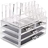 Moon Castle Acrylic Jewelry and Cosmetic Storage Makeup Organizer, 2-Piece Set, 16 Slots and 6 Drawers