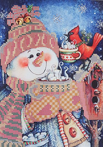 - Bead Embroidery Kits Merry Christmas Snowman Needlepoint Pattern Winter Wall Decor Beaded Crossstitch kit Christmas Wall Art Bordado Broderie Perle