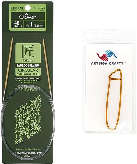 48-Inch Size 1 Clover Bamboo Circular Knitting NeedlesTakumi