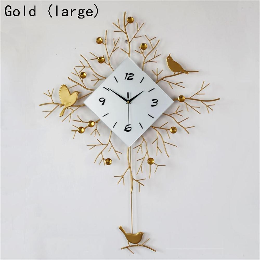 ALUPモダンなリビングルームの壁時計クリエイティブパーソナリティファッション単純な吊りテーブルベッドルーム静かな時計ヨーロッパのクォーツ時計 (色 : Gold (large)) B07F251G24 Gold (large) Gold (large)