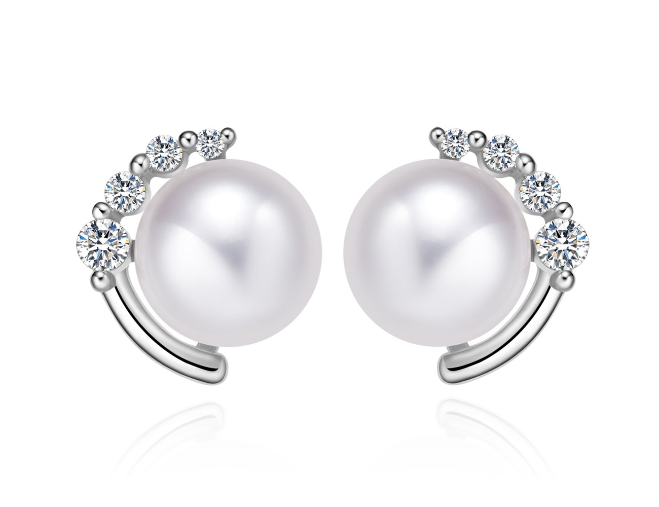 ''Moon & Star'' Sterling Silver Stud Earrings with Crystal Zircon and 8mm Freshwater Pearl (white gold)