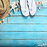 Yeele Wooden Floor Backdrops 10x10ft/3 X 3M Seablue Wood Plank Straw Hat Starfish Flip Flops Conch Pictures Adult Artistic Portrait Photoshoot Props Photography Background