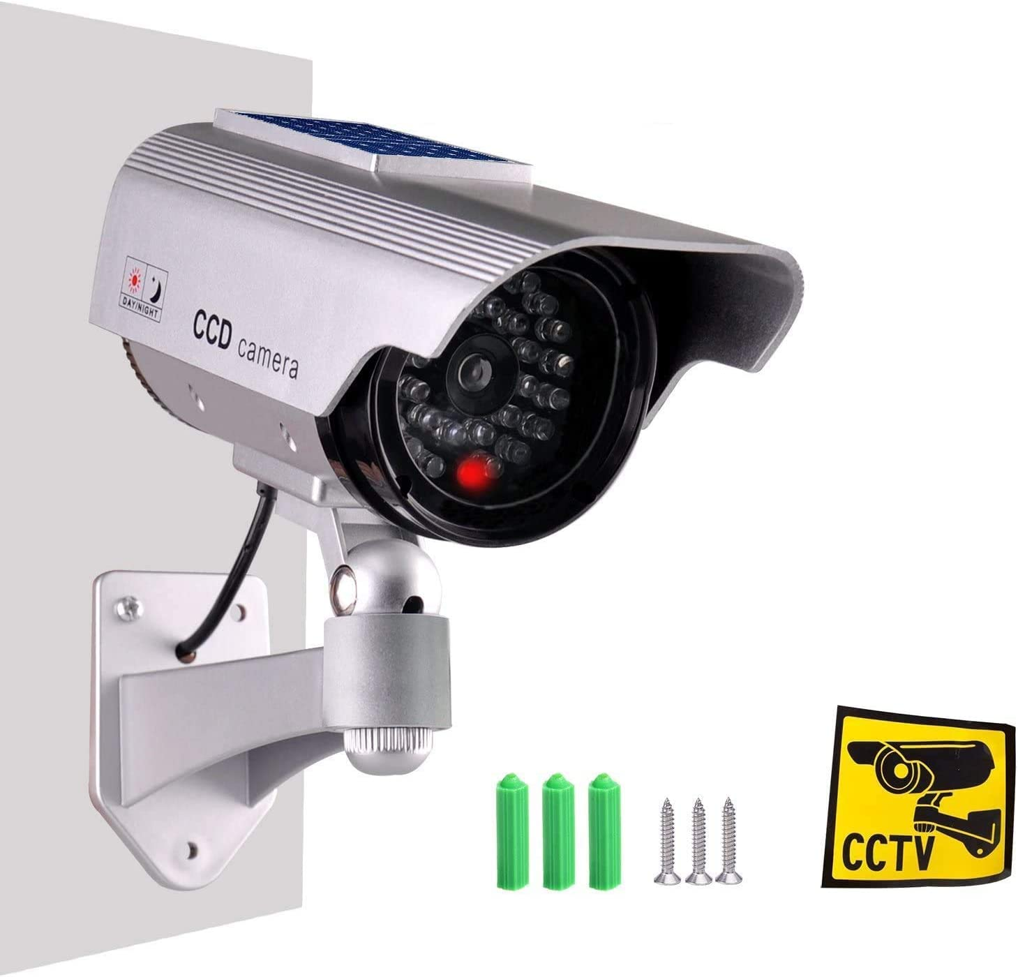Dummy Fake Security Camera,ISEEUSEE Solar Powered Fake Surveillance Camera with Flash LED Dummy Bullet Simulated CCTV Camera,Indoor Outdoor Use Good for Home/Office/Shop/Garage - Silver Color