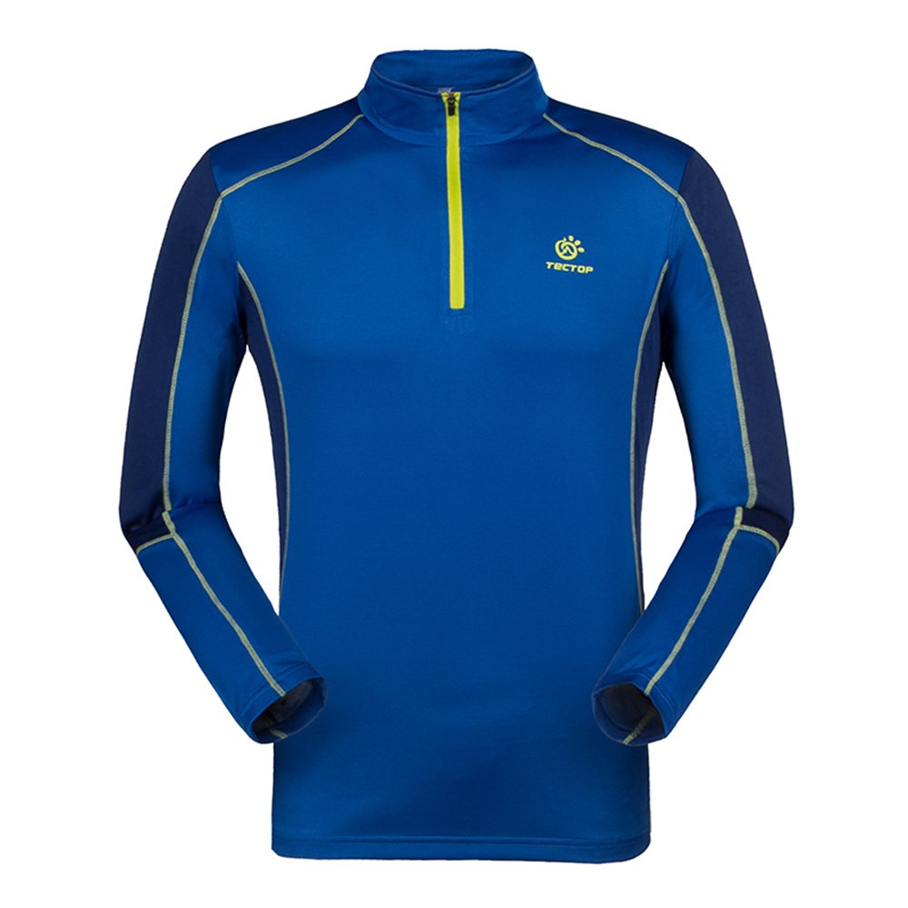 emansmoer Homme 1/4 Zip Manches Longues Pullover Respirante Outdoor Camping Randonnée Course Sport Quick Dry Wicking T-Shirt MSTET5053