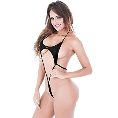 bb6597a1a8ca3 Womens Metallic Wet Look High Cut Thong Leotard Bodysuit One-piece Bikini  Thong Swimsuit Black  Amazon.co.uk  Clothing