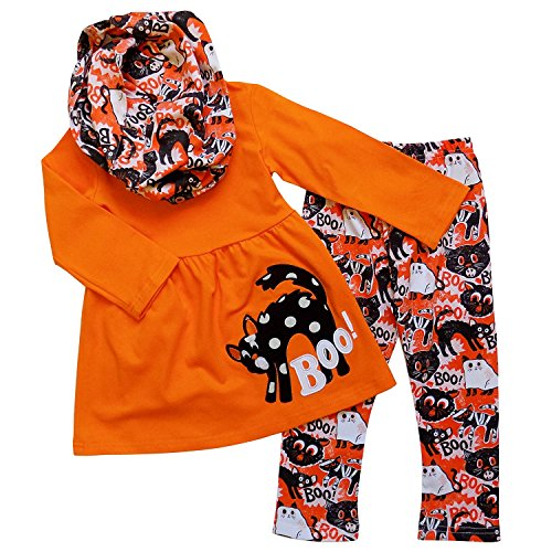 So Sydney Girls Halloween Scary Kitty Cat BOO, 3 Pc Boutique Outfit with Scarf (XL (6))