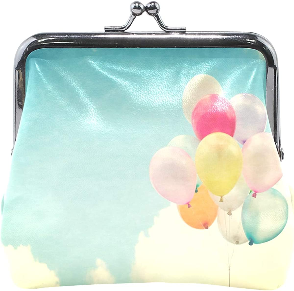 Women Wallet Purse Sky Vintage Balloon Colorful Clutch Bag Leather