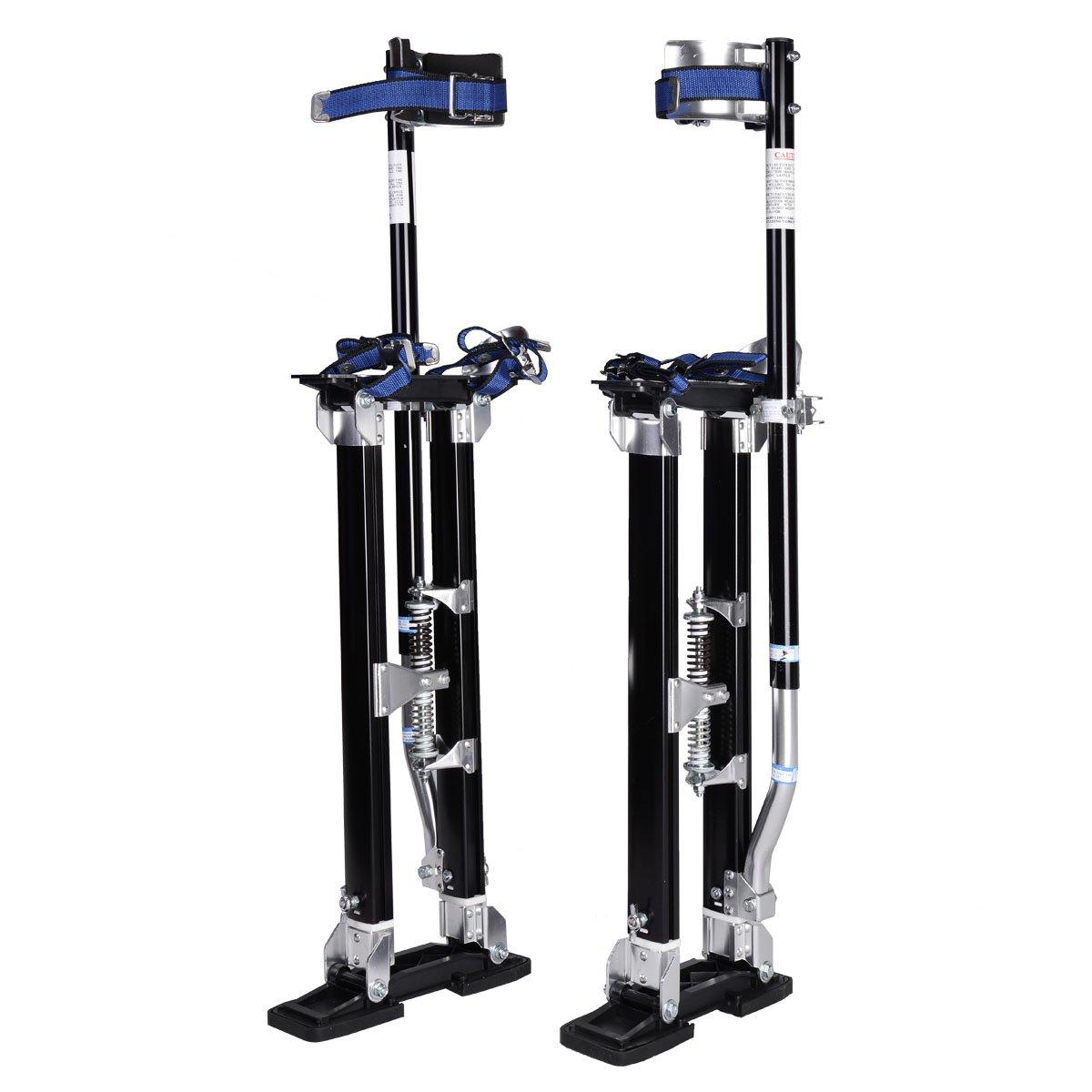 Goplus Drywall Stilts Drywall Lifts Aluminum Tool Stilt for Painting Painter Taping (24''-40'', Black)