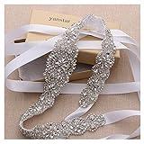 Yanstar Handmade Crystal Bridal Belts Wedding Dress Sashes White Beads Belts For Bridal Wedding Gowns