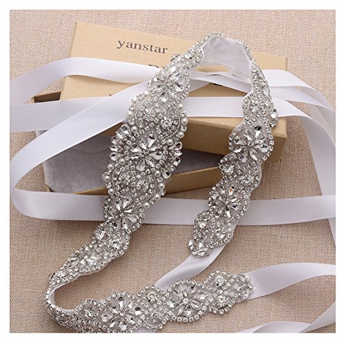 White Bridal Wedding Gown - Yanstar Handmade Silver Crystal Bridal Belts Wedding Dress Sashes White Beads Belts For Bridal Wedding Gowns