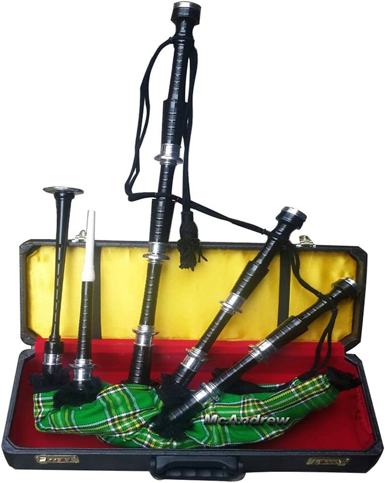 McAndrew Scottish Full Set of Bagpipes Silver Mounts IRISH Tartan Cord Hard Box