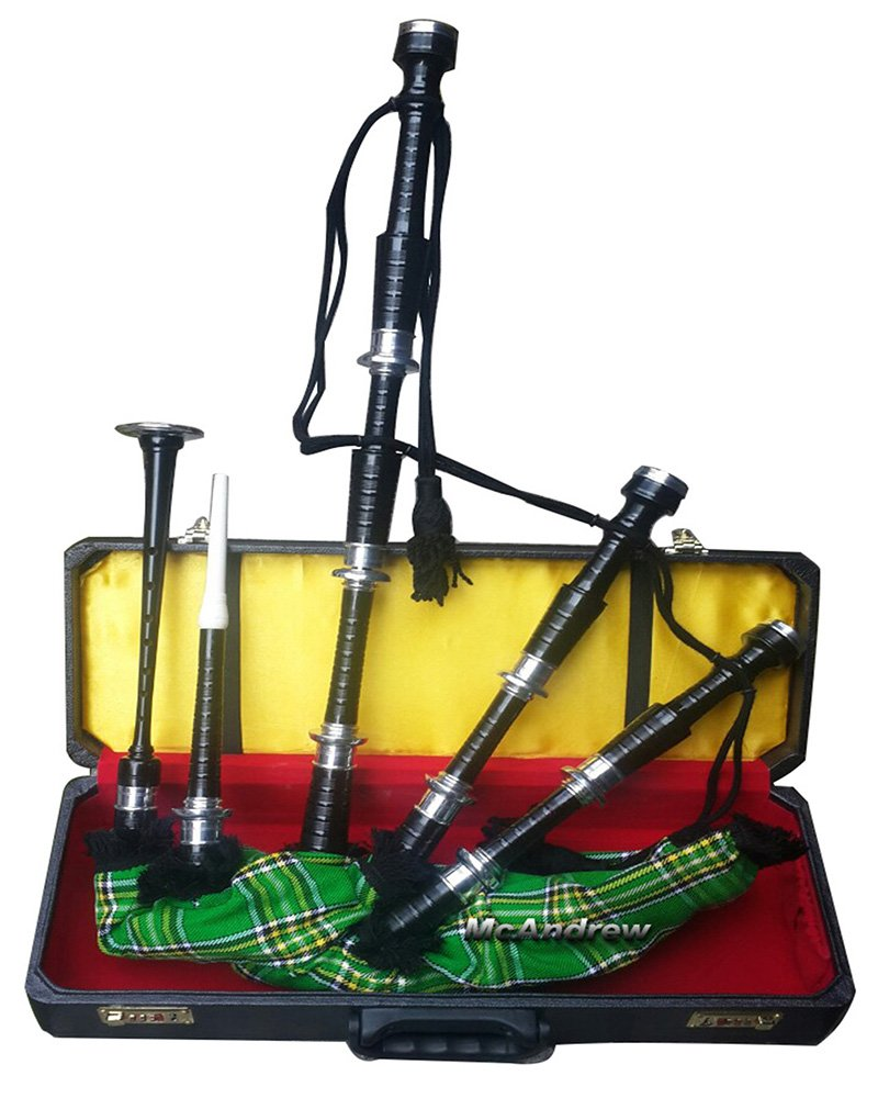 McAndrew Scottish Full Set of Bagpipes Silver Mounts IRISH Tartan Cord Hard Box