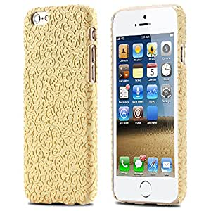 Classic Gold Palace Flora Pattern Luxury Case for iphone 6 4.7 Soft PU Leather Phone Back Shell Cover Vintage Portable R04702 --- Color:Yellow