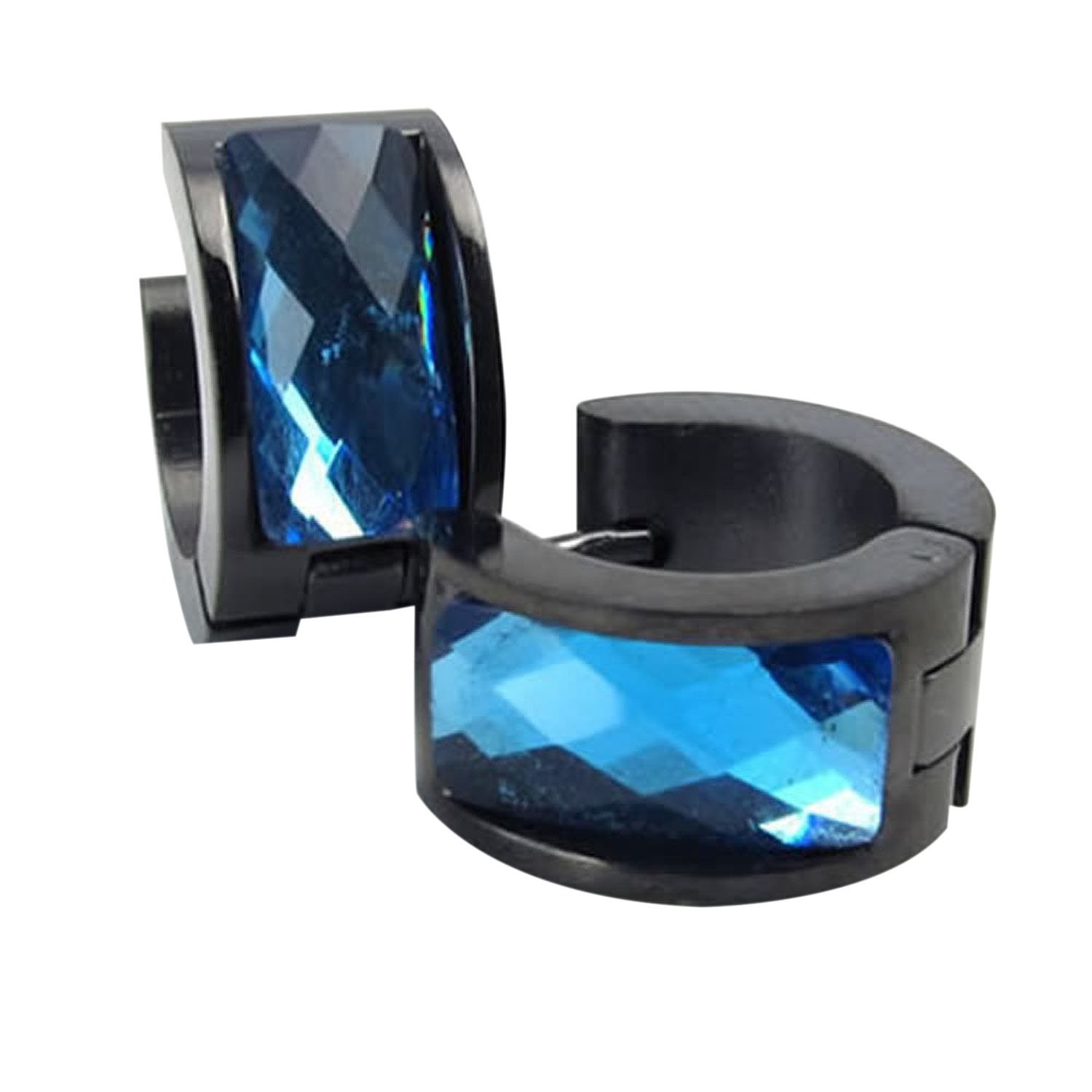 SODIAL(R) Velvet Bag Jewelry Men's Earrings, Stainless Hoop Earring Stud, Blue Black