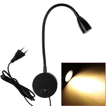 LED Bett Lampe Wandleuchte Schwanenhals Leselampe, Clover Star 3W Hell  Nachtbeleuchtung Leselicht Mit Schalter Für