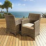 Pair of Luxury Garden Outdoor Dining Chair chairs Mocha Rattan / Beige