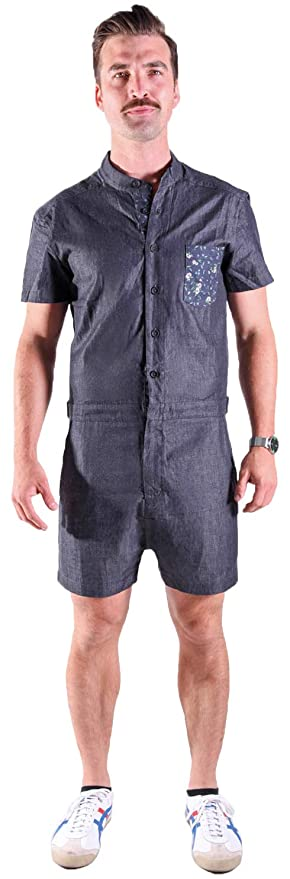 78eac3eafeb RompHim Black Chambray Romper from The Original Male Romper - One Piece  Shorts Outfit for The Fashionable Man at Amazon Men s Clothing store