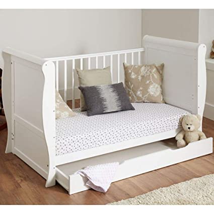 reputable site a0fa4 2c8ae White Solid Sleigh Style Cot Bed & Deluxe Foam or Sprung Mattress Converts  into a Junior Bed (Cot Bed with Foam Mattress and no Drawer)