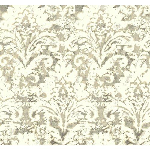 York Wallcoverings NN7301 Cloud Nine Batik Damask Removable Wallpaper Beiges