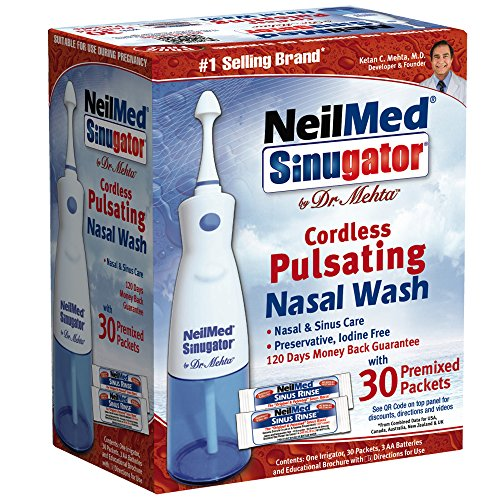 NeilMed Sinugator Cordless Pulsating Nasal Wash with 30 Premixed (Nasal Irrigator)