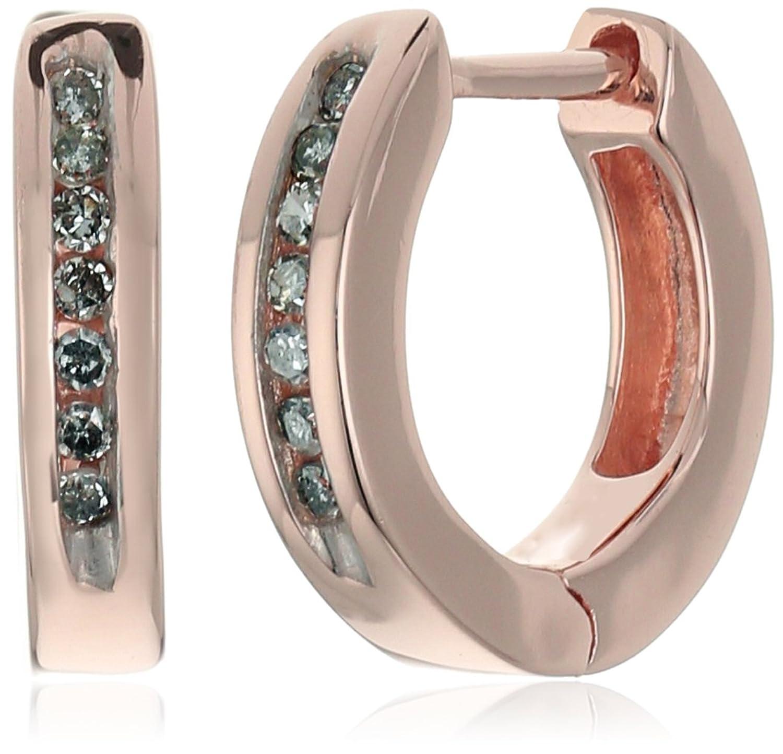 Amazon 18k Rose Gold Over Sterling Silver Diamond Huggie