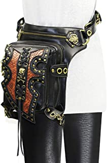RABILTY Men's Gothic Steampunk Leather Multi-Purpose Tactical Drop Leg Arm Waist Bag Pack Belt Hiking Fanny Messenger Shoulder Black (Color : Style2)