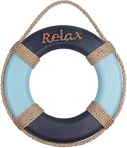 Wooden Nautical Life Ring Decorative Life Ring Home Buoy Wall Door Hangings Decor Hanging Ornament Beach Theme Home Decoration, Dark Blue&Light Blue(12.2