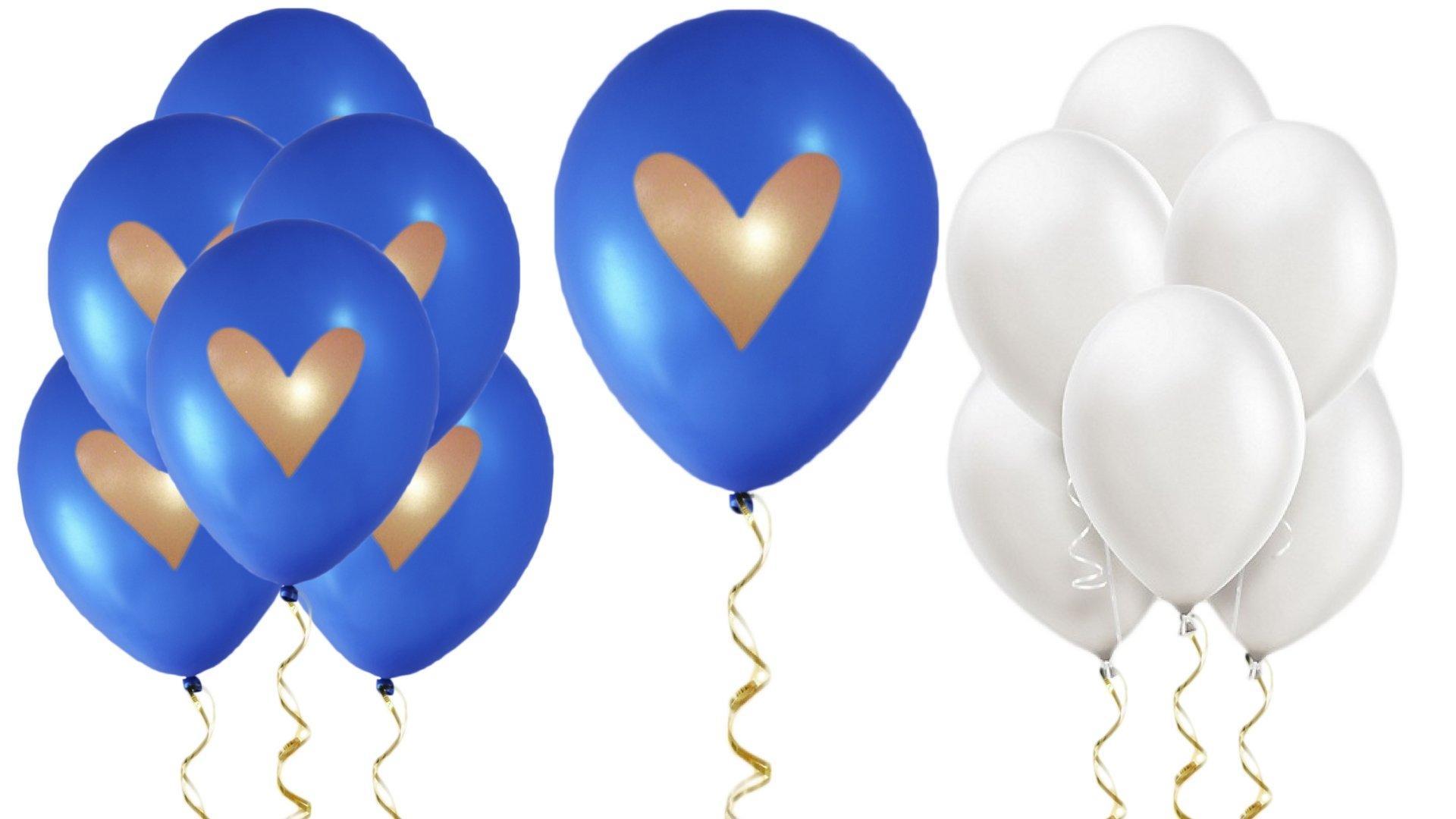 Blue White Gold Heart Balloons Love 12'' Latex Wedding Decoration Kit Proposal Vow Renewal Valentine's Bridal Shower Party Bachelorette Celebration Anniversary Royal Dark (No Ribbon)