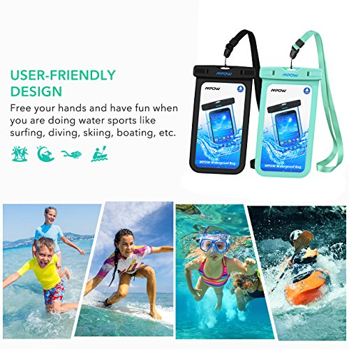 Mpow Universal Waterproof Case, IPX8 Waterproof Phone Pouch Dry Bag Compatible for iPhone Xs Max/Xs/Xr/X/8/8plus/7/7plus/6s/6/6s Plus Galaxy s9/s8/s7 Google Pixel HTC12 (Light Blue+Black 2-Pack) by Mpow (Image #4)