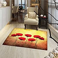 Poppy Door Mats for home Poppies on Old Aged Retro Featured Backdrop Design Past Days Drama Petals Bath Mat Bathroom Mat with Non Slip 30x48 Scarlet Pale Yellow