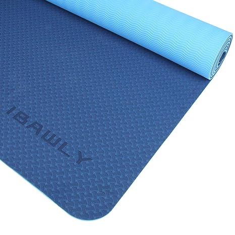 Amazon.com : IBAWLY Eco Friendly Non Slip TPE Yoga Mat Extra ...