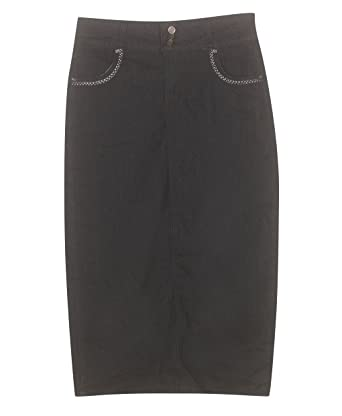 Plus Size Long Day Denim Skirt at Amazon Women's Clothing store: