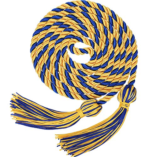 Graduation Honor Cords Tassels Cord Polyester Yarn Honor Cord for Bachelor Gown for Graduation Students (Gold with Blue)