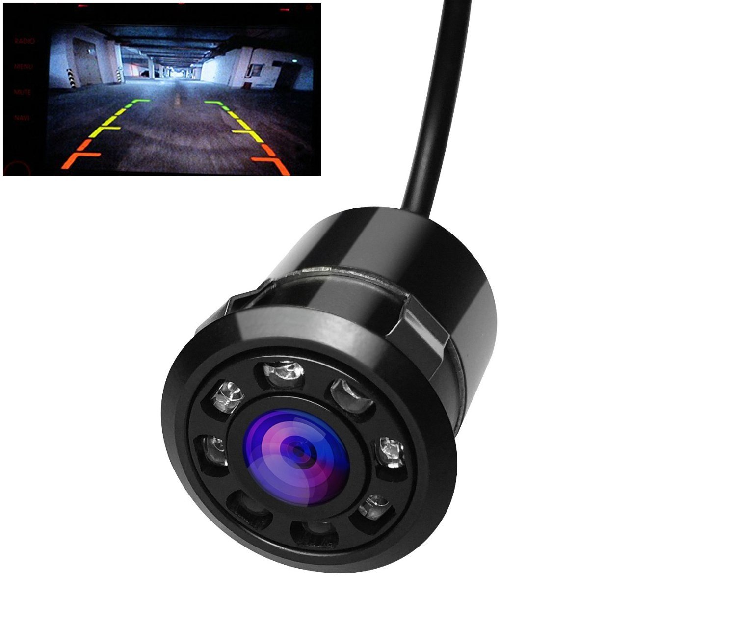 Comfkey Car Backup Rear Camera - 170 Wide Angle 8 Infrared Night Vision LED Waterproof High Definition Color License Plate Car Camera HD Glass Lens Automotive Backup Cameras