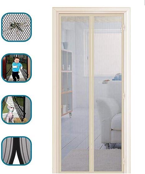 JLDN Puerta De Pantalla Magnética, Cortina Mosquitera Magnética Pantalla de mosquitos de marco completo auto sellado para manos libres para puerta de vidrio corrediza Puerta francesa Patio,Beige_90x205CM: Amazon.es: Hogar